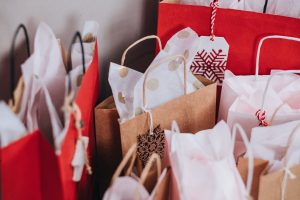Assorted Christmas gift bags with tags